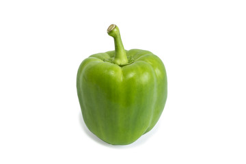 Closeup of a ripe green bell pepper, isolated