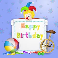 Cute happy birthday card with fun clowns