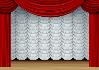 Vector Scene with White and Red Curtains