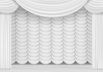 Vector Scene with White Curtains