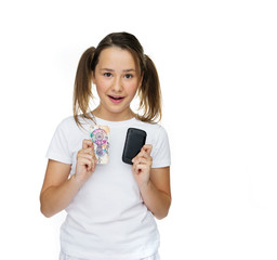 Young Woman Holding Mobile Phone Cases