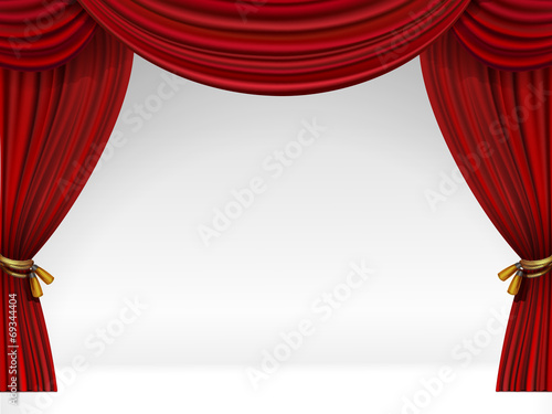 Vector White Scene with Isolated Red Curtains - 69344404
