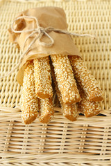 sesame sticks in basket