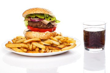 Burger, fries and coke