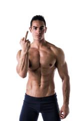 Male model holding up middle finger