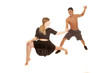 couple dancing man no shirt woman black skirt lunge
