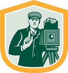 Photographer Shooting Vintage Camera Shield Retro