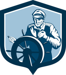 Fisherman Sea Captain Shield Retro
