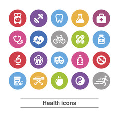 Health and medical icons set.