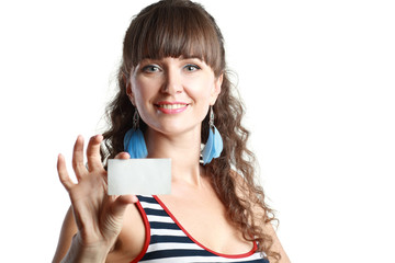 lady holding card