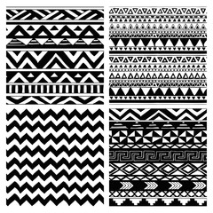 Aztec Tribal Seamless Black and White Pattern Set