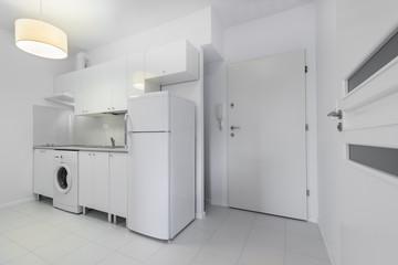 Small, white compact kitchen interior design