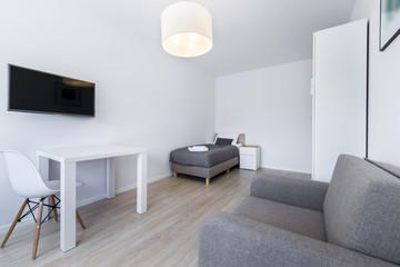 Small, modern sleeping room interior design
