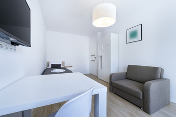Compact, modern sleeping room interior design