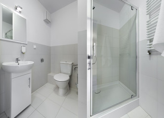 Panorama of small and compact bathroom