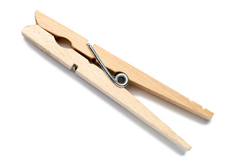Wooden Clothespin on White