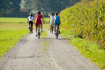 Four friends cycling down the road.