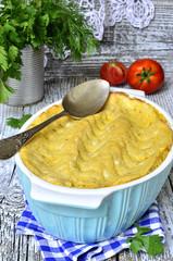 Potato casserole with meat.