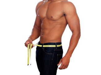 Strong man with tape measure