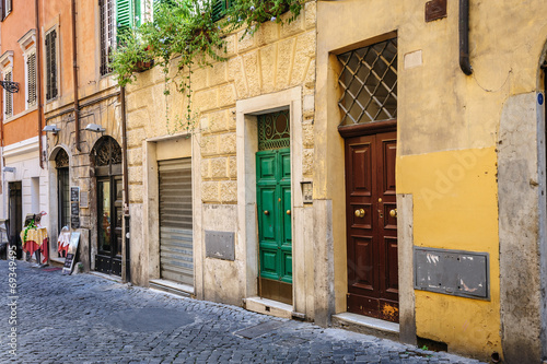canvas print picture Old streets of Rome, Italy