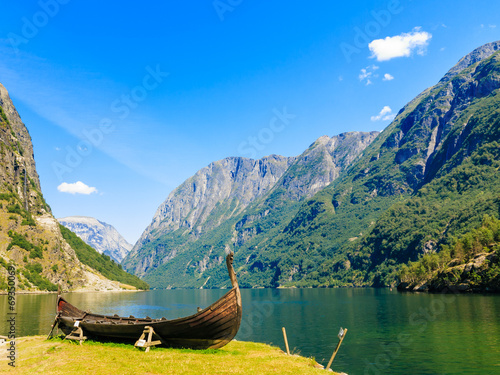 Plexiglas Rivier Tourism and travel. Mountains and fjord in Norway.