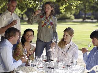 Wine tasters tasting wine.