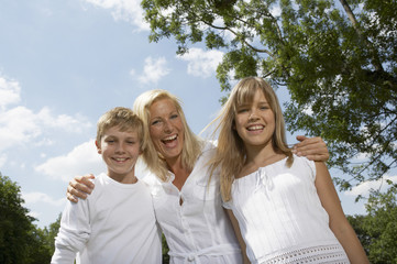 Mother with her son and daughter.