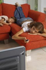 Children watching TV.