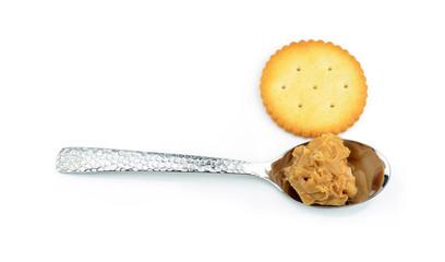 Creamy peanut butter in a spoon