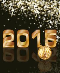 Golden New 2015 Year, vector illustration