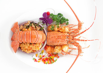 Steamed lobster in vegetable decorations