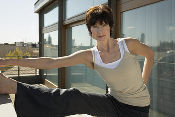 Portrait of a mature woman exercising