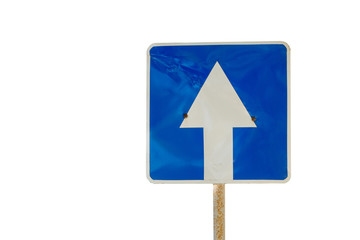 Blue directional road sign isolated