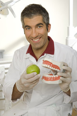 Portrait of a male dentist holding dentures and an apple