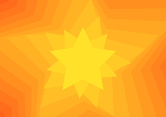 Yellow to orange background with star enlarging and rotating