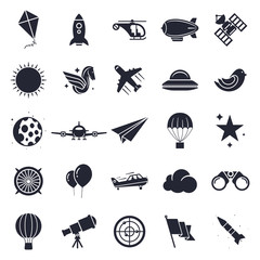 Aviation and flying objects theme, black and white icons.