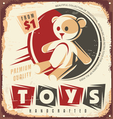 Vintage toy store metal sign design concept