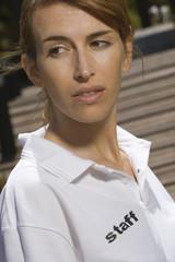 Side profile of a female health farm worker