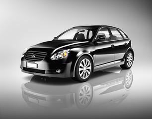 Three-Dimensional Shape Black Sedan