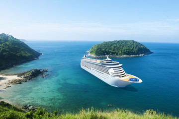 Cruise Ship in the Ocean with Blue Sky