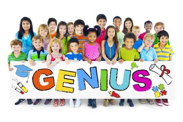 Multiethnic Group of Children with Genius Concept
