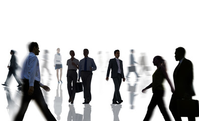Silhouettes of Business People Rush Hour