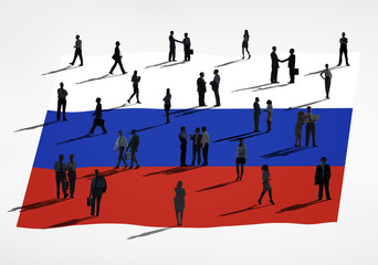 Group of Business People with Russian Flag