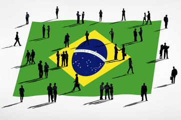 Group of Business People with Brazilian Flag
