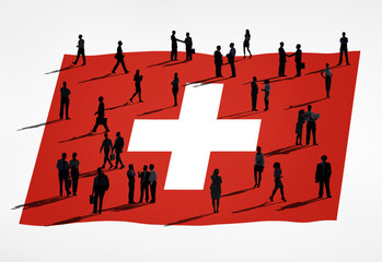 Group of Business People with Flag of Switzerland