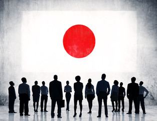 Group of  Business People Standing With Japanese Flag