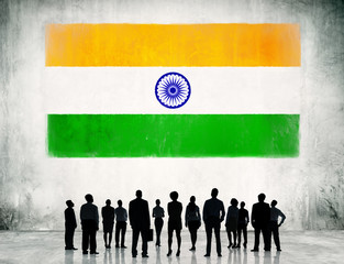 Silhouette Group of People with Flag of India