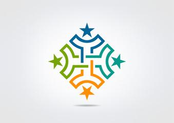 Teamwork success star logo