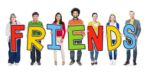 Group of Diverse People Holding Word Friends