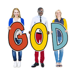 Group of People Holding the word God